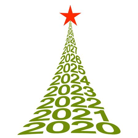 new year tree with numbers 2020, vector Christmas tree symbol of new life, well-being and a beautiful future
