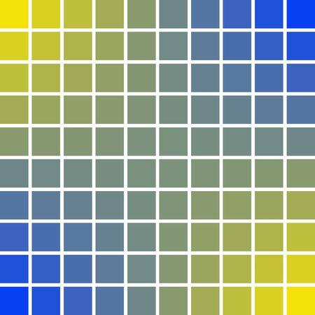 Panels pixel art squares 10 x 10 blue and yellow color of the sun and sea waves, vector illustration pixel art colors of peace good and prosperity.
