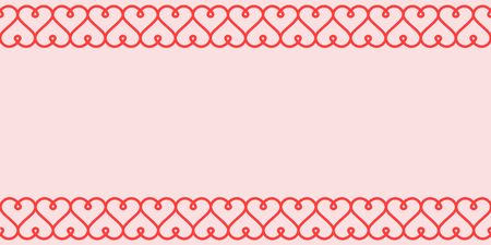 Valentines day greeting card template, vector horizontal Valentine card with calligraphic pattern of hearts Illustration