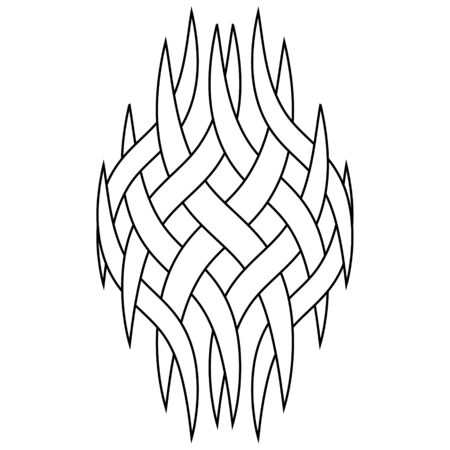 Pattern tattoo logo, intertwining smoke vapors, vector Celtic knot of curved stripes, logo tattoo pattern intertwined curved lines