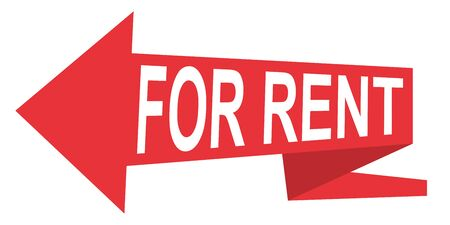 Arrow pointer for rent, vector red sign icon banner arrow ribbon for rent