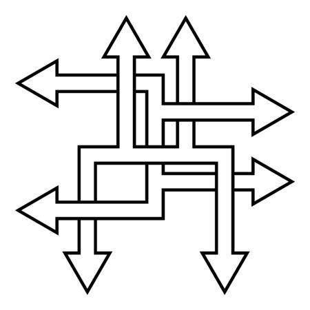 Complex ways solve complex problems, vector arrow direction path symbol sign optimization of the process Ilustración de vector