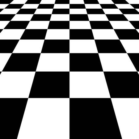 Black white squares checkered Board background, vector chessboard perspective Vektorgrafik