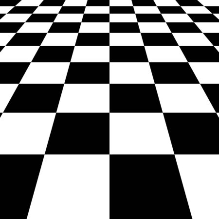 Black white squares checkered Board background, vector chessboard perspective Vetores