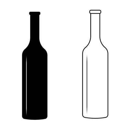 set wine bottle with glare of light vector sign icon wine bottle simple design