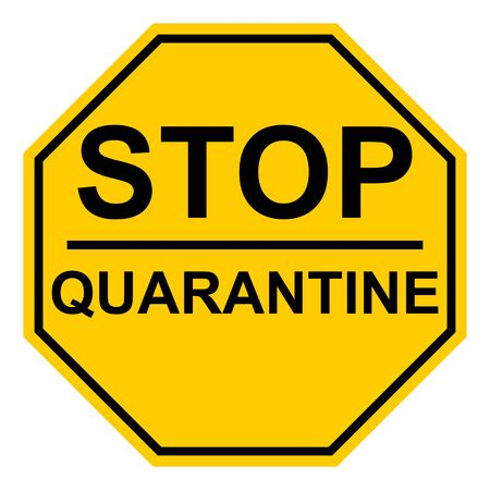 Octagonal yellow stop quarantine sign vector page sign warning about the quarantine zone coronavirus COVID, stop the movement of infected people Vetores