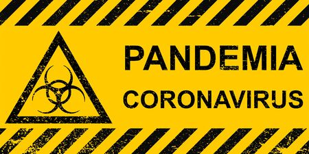 Banner pandemic coronavirus sign hazard on a yellow background , vector pandemic coronavirus striped banner warning infection with corona virus