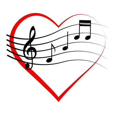 Logo icon heart with notes and treble clef, vector sign love for music, melomaniac symbol