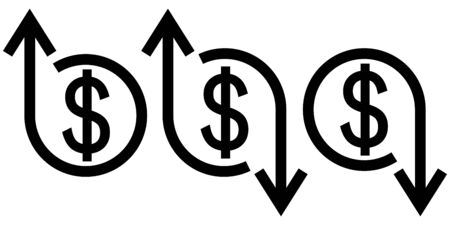 Icon crisis development flourishing, vector dollar sign and arrow up and down, concept of economic crisis and business development