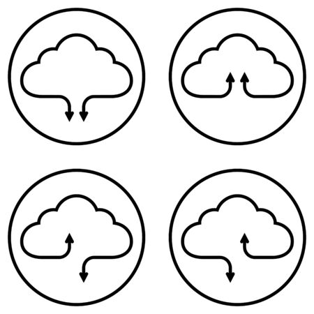Set icons service cloud data storage, vector simple icons download and upload data