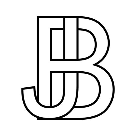 Logo sign bj jb icon sign two interlaced letters b, j vector logo bj, jb first capital letters pattern alphabet b, j