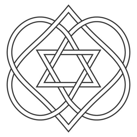 Celtic knot entwining hearts and stars of David, vector Jewish heart shape with star of David art two hearts are woven into carved love knot, symbol Jewish wedding