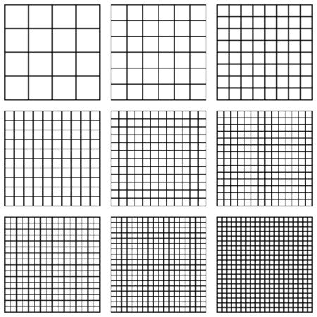set square grid, with different point size, vector pattern grid Pixel Per Inch, PPI pixel density electronic device image