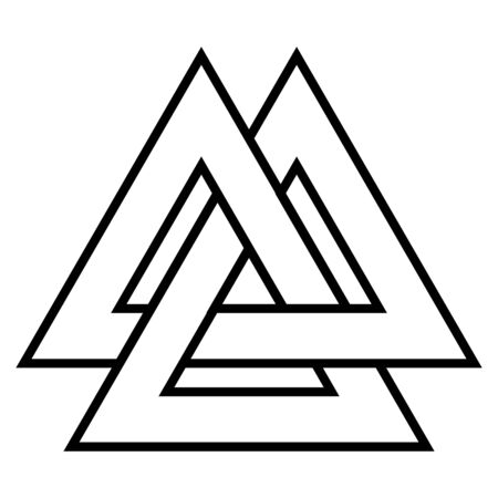 Valknut symbol triangle logo, Viking age symbol, Celtic knot icon vector from triangle tattoo