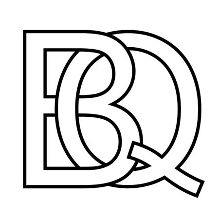 Logo sign bq qb icon sign two interlaced letters B and Q vector logo bq, qb first capital letters pattern alphabet b, q 일러스트