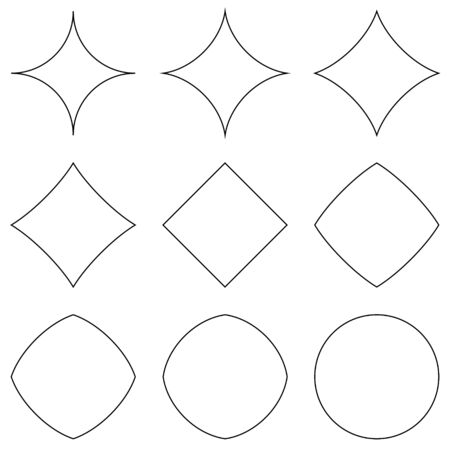 set of geometric shapes, transition from star to circle and square, vector geometric shapes for design, different convexities and concavities Ilustracja