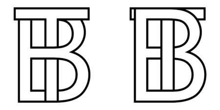 Logo sign bt tb icon sign two interlaced letters b, t vector logo bt, tb first capital letters pattern alphabet b, t 일러스트