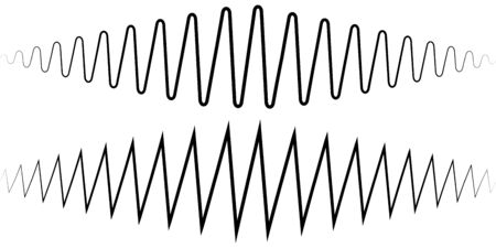 Audio sound wave. Sound wave amplitude tattoo voice recording, music audio icon, equalizer, radio logo and waveform amplitude music design ringtones