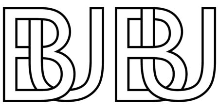 Logo sign bu ub icon sign two interlaced letters b, u vector logo bu, ub first capital letters pattern alphabet b, u