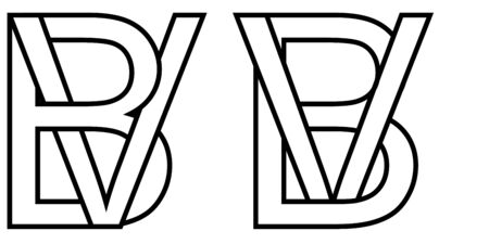 Logo sign bv vb icon sign two interlaced letters b, v vector logo bv, vb first capital letters pattern alphabet b, v Ilustracja