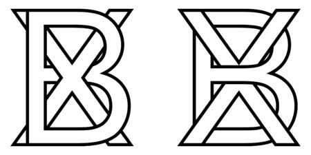 Logo sign bx xb icon sign two interlaced letters b, x vector logo bx, xb first capital letters pattern alphabet b, x