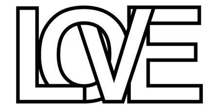 Word love, letter outlines intersection lettering, vector sign of love lettering symbol of relationship feeling, deep affection and aspiration for another person Ilustracja