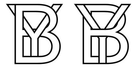 Logo sign by yb icon sign two interlaced letters b, y vector logo by, yb first capital letters pattern alphabet b, y