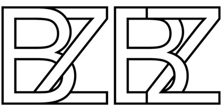 Logo sign bz zb icon sign two interlaced letters b, z vector logo bz, zb first capital letters pattern alphabet b, z