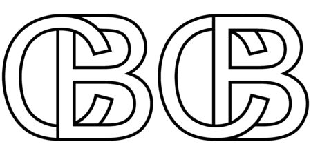 Logo sign bc and cb icon sign two interlaced letters B, C vector logo bc, cb first capital letters pattern alphabet b, c