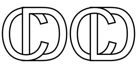 Logo sign dc and cd icon sign two interlaced letters D, C vector logo dc, cd first capital letters pattern alphabet d, c 스톡 콘텐츠