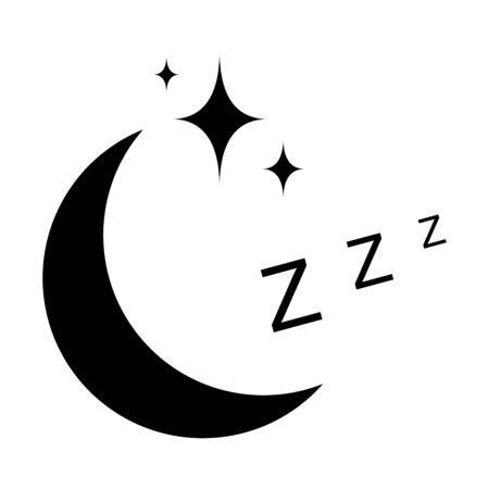 icon sleep sign sleeping moon with stars, vector symbol sleeping zzz night sleep health sign