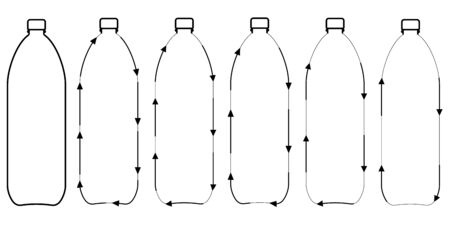 set icons recycling plastic bottles, vector sign symbol recycling plastic bottles for water and beverages, recyclable