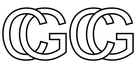 Logo sign gc cg icon sign two interlaced letters g, c vector logo gc, cg first capital letters pattern alphabet g, c