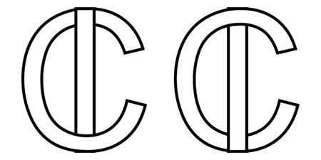 Logo sign ic ci icon sign two interlaced letters I, C vector logo ic, ci first capital letters pattern alphabet i, c