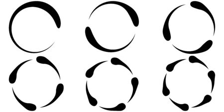 Set of icons concept of torsion rotation, vector set circles recycle, refresh, guide lines around the circle