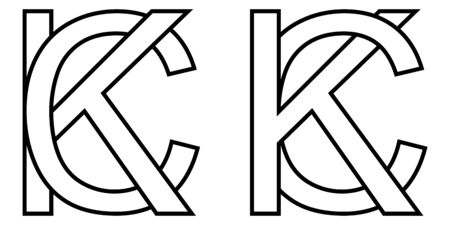 Logo sign kc and ck icon sign two interlaced letters K, C vector logo kc, ck first capital letters pattern alphabet k, c