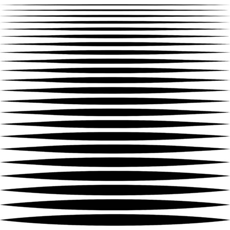 set of sharp horizontal lines different profile thickness, vector needle line design element Ilustracja