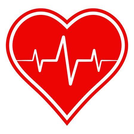 icon health sign, heart with heartbeat, vector sign symbol healthy lifestyle and recovery from diseases