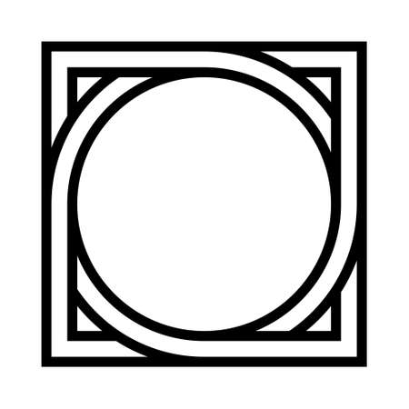 geometric shape pattern circle inscribed in square, vector pattern tattoo symbol sign round square Illustration
