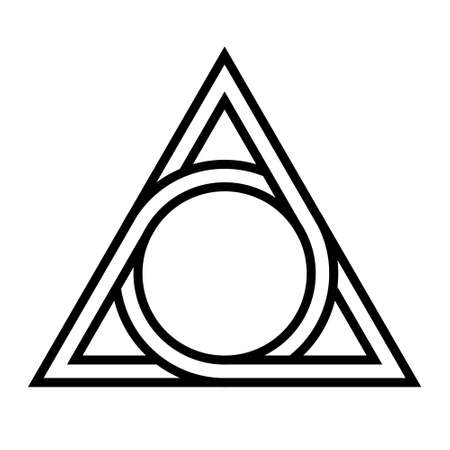 geometrical figure circle inscribed in a triangle, the vector tattoos mythological symbol round triangle Ilustracja
