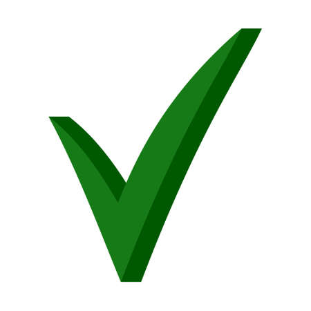 Green 3D checkmark, OK sign, vector checkmark sign approval for elections