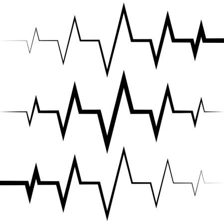 sine wave icon heart rate pulse icon medicine logo, vector heartbeat heart rate icon, audio sound radio wave amplitude spikes
