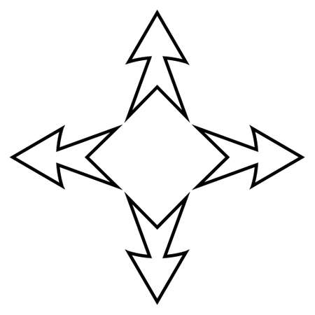 tattoo arrows of the cardinal direction, vector business sign arrows and square inside, symbol international trade and business