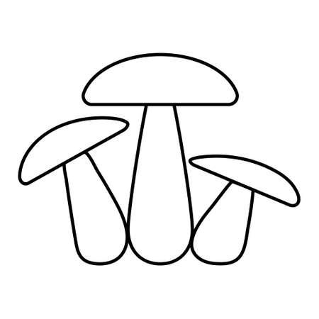 Mushroom family icon three mushrooms vector sign fungus, champignon