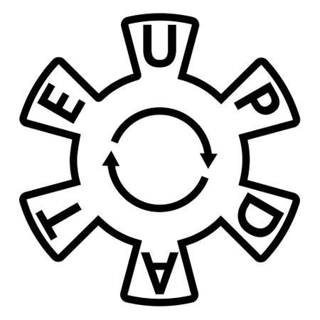 Icon update sign, gear arrows, vector update refresh hog wheel arrow line outline stroke Icon 矢量图像