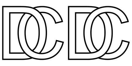 cd dc icon sign two interlaced letters C D, vector   cd dc first capital letters pattern alphabet c d