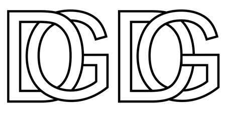 gd dg icon sign two interlaced letters G D, vector gd dg first capital letters pattern alphabet g d