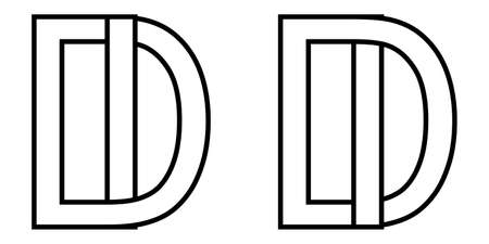 id di icon sign two interlaced letters I D, vector   id di first capital letters pattern alphabet i d