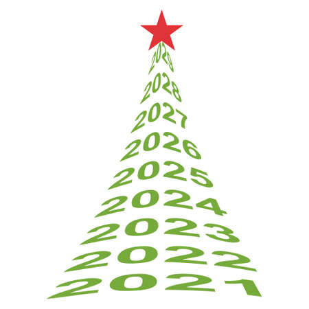 new year tree numbers 2021, vector Christmas tree symbol of new life, well being and a beautiful future Illusztráció