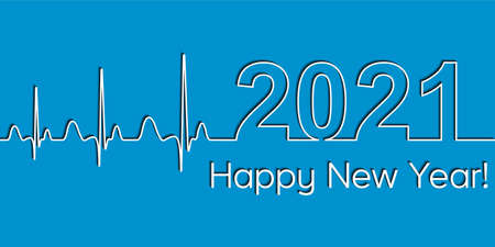 Medical Christmas banner, 2021 happy new year, vector 2021 health medical style wave heartbeat concept fitness healthy lifestyle